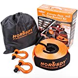 HORUSDY Nylon Heavy Duty Tow Strap Recovery Strap with Hooks 3' x 30Ft - 32,000 LBS Break Strength, 3/4 D Ring Shackles (2pcs), Recover Your Vehicle Stuck in Mud/Snow.