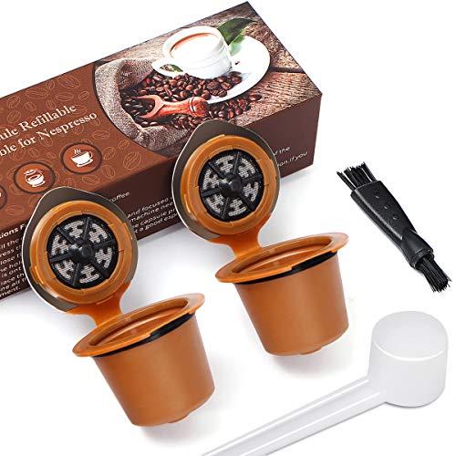 Letilio - Confezione da 2 capsule da caffè riutilizzabili per Nespresso Marrone
