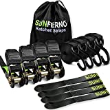 Sunferno Ratchet Straps Tie Down 2500Lbs Break Strength, 15 Foot - Heavy Duty Straps To Safely Move...