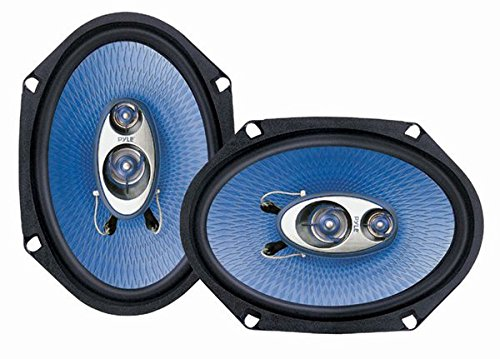 """6"""" x 8"""" Car Sound Speaker (Pair) - Upgraded Blue Poly Injection Cone 3-Way 360 Watts w/ Non-fatiguing Butyl Rubber Surround 70 - 20Khz Frequency Response 4 Ohm & 1' ASV Voice Coil - Pyle PL683BL"""