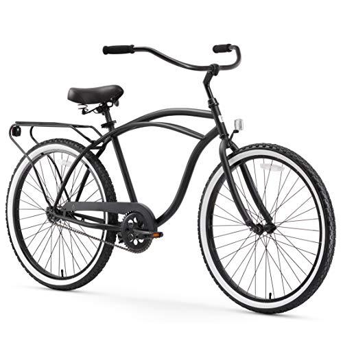 sixthreezero Around The Block Men's 26-Inch Single Speed Cruiser Bike, Matte Black, 18' / One Size