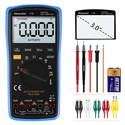 Digitale multimeter | Auto Range | Morpilot | 6000 Counts | Ampèremeter | Temperatuur | Outer Conductor Identification | True RMS | Continuity test | Voor professionele gebruikers