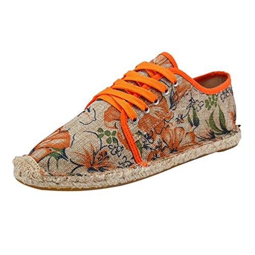 Lvguang Unisex Hombre Mujer Amantes Ocasionales Antideslizante Loafer Zapatos Moda Simple Planos Alpargatas Naranja, Asia 41 (255cm)