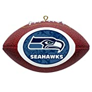 """Mini Replica Football Ornament measures approximate 4"""" long and 2.5"""" wide. Raised stiching and leather texture gives this decoration a football-like feel. Made of Polystyrene in China. Printed in the U.S.A. Officially Licensed Product"""