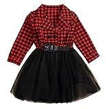 Little Kids Baby Girl Red Plaid v-Neck Belt Princess Formal Lace Tulle Tutu Dress