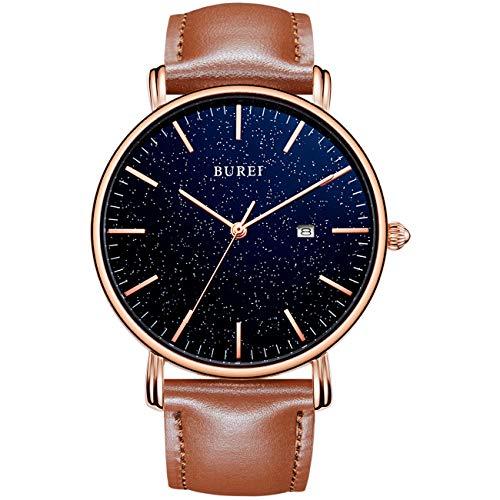 BUREI Herren Uhren Ultradünne Sternenklare Minimalistische Quarzband-Datumsanzeige mit Lederarmband
