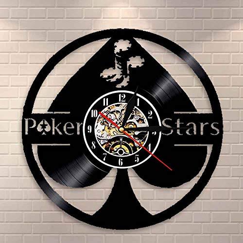 BFMBCHDJ Lucky Poker Asso di Picche Disco in Vinile Wall Art 5 Stelle Regalo Stella Stasera Orologio...