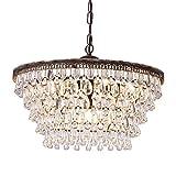 Wellmet Crystal Chandeliers, 6 Lights 5 Tiers Crystal Light, Adjustable Ceiling Light, Modern Chandelier Lighting Fixture for Bedroom, Hallway, Bar, Kitchen, Bathroom, Dining Room, W20-inch