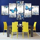 NQW Pintura sobre Lienzo Arte de la Pared Decoracin para el hogar Cartel de impresin HD 5 Piezas Mariposas Azules y Blanco Gypsophila Paniculata Pictures Frame