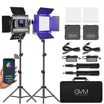 GVM RGB LED Video Light, Photography Lighting with APP Control, 800D Video Lighting Kit for YouTube Studio, 2 Packs Led Panel Light for Gaming, Streaming, Conference, 8 Kinds of Scene Lights, CRI 97