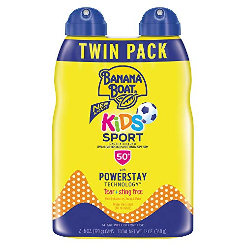 Banana Boat Kids Sport Tear Free, Sting Free, Reef Friendly Sunscreen Spray, Broad Spectrum SPF 50, 6 Ounces - Twin Pack