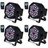 UP Lights, Missyee 36 X 1W RGB LED DJ Lights Sound Activated Stage Lights Package with Remote Compatible with DMX-512 Controller, 9 Modes LED DJ Lights for Wedding Birthday Party Club (4 Pack)