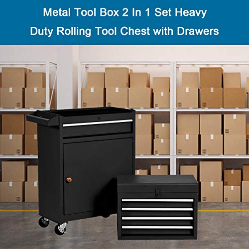 Product Image 7: Compact Tool Box Chest Combo 5 Drawer Mechanic Tool Box Small Heavy Duty Rolling Tool Chest on Wheels Tool Cabinet Organizer with Lockable Drawers Tool Chest Black