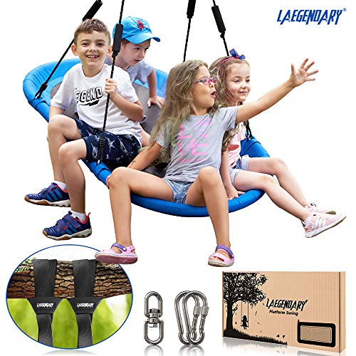 60-Inch-Platform-Tree-Swing-for-Kids-and-Adults--Giant-Flying-Outdoor-Indoor-Saucer-Hammock--Large-Surf-Tire-Swingset-Accessories-Toys-2-Straps-2-Carabiners-1-Swivel-600-Lbs-Yard-Swings-Set
