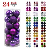 GameXcel Christmas Balls Ornaments for Xmas Tree - Shatterproof Christmas Tree Decorations Perfect Hanging Ball Purple 1.6' x 24 Pack