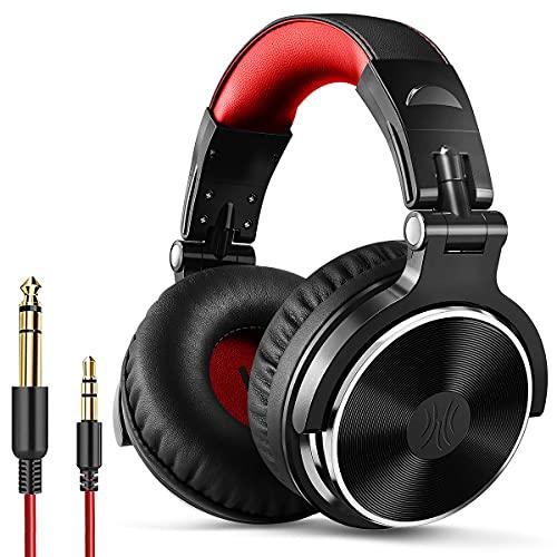 OneOdio Cuffie Over Ear Cuffie chiuse da Studio Back DJ per monitoraggio, cuffie prive di isolamento, cuffie con isolamento acustico (Rosso Nero)