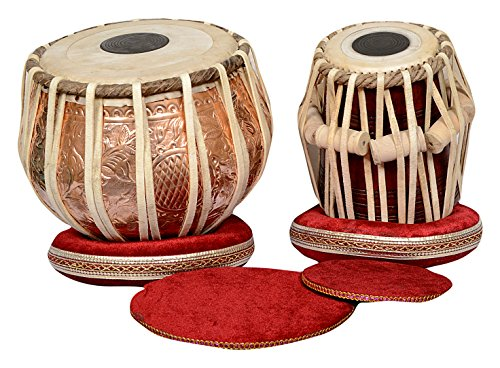 S.A Trading Company ABC009 Copper Tabla Set with Bayan and Sheesham Wood Dayan, A Hammer, Carry Bag