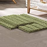 Amrapur Overseas 2-Pack Chenille Noodle Bath Mat with Non-Slip Backing, Sage
