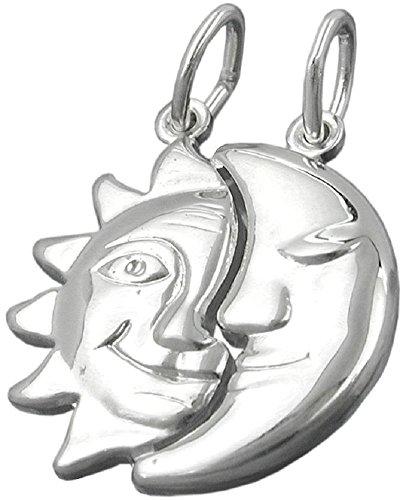 Joyería Colgantes Sol Luna brillosos plata 925 dimensiones 21 x 19 mm remolque divisible con 2 ojales