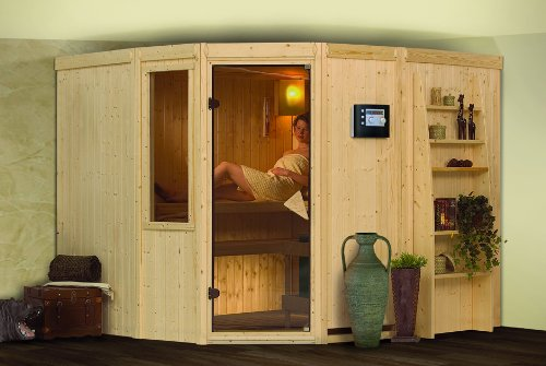 Norin - Karibu Sauna inkl. 9-kW-Bioofen - mit Dachkranz -
