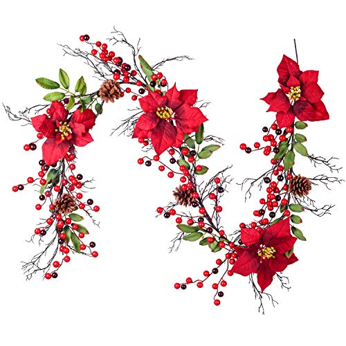 YQing 161cm Poinsettia Guirnalda de Navidad de Bayas, Rojas Bayas Navidad Guirnalda con Bayas Rojas y Hojas de Acebo, Navidad Piñas Guirnalda para Decoración de Vacaciones de Invierno, Año Nuevo