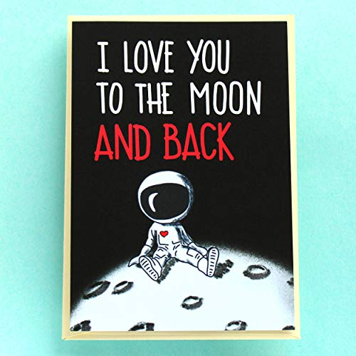 Funny Valentine's Day Card, Cute Anniversary Card to Him Her Husband Wife, Romantic I Love You Birthday Card - I Love You to the Moon and Back Card - Folded Greeting Card with Envelope, Blank Inside