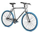 Takara Sugiyama Flat Bar Fixie Bike, 700c, Gray/Blue, Medium/53cm Frame