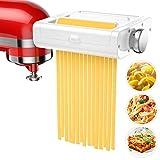 Pasta Maker Attachment for KitchenAid Stand Mixers, 3 in 1 Set Pasta Attachments includes Pasta Roller, Spaghetti &Fettuccine Cutter, Pasta Machine Attachment Accessories for KitchenAid