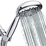 High-Pressure Handheld Shower Head 6-Setting - 5' Handheld Rain Shower with Hose - Powerful Shower Spray Even with Low Water Pressure in Supply Pipeline - Low Flow Shower-Head, Chrome