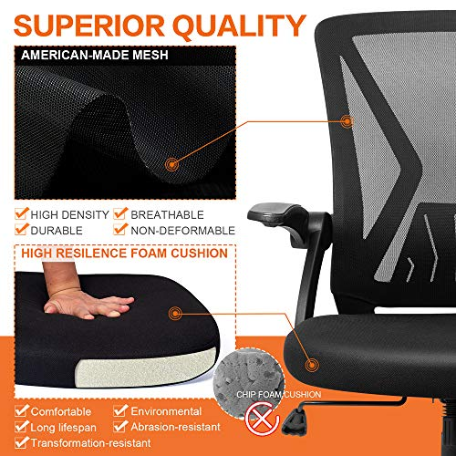 Product Image 5: QOROOS Mid Back Mesh Office Chair Ergonomic Swivel Black Mesh Desk Chair Flip Up Arms with Lumbar Support Computer Chair Adjustable Height Task Chairs