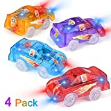 Funkprofi Replacement Track Cars Light Up Toy Cars, 5 LED Flashing Lights Compatible with Most Tracks, Toy Gifts for Boys and Girls (4 Pack)