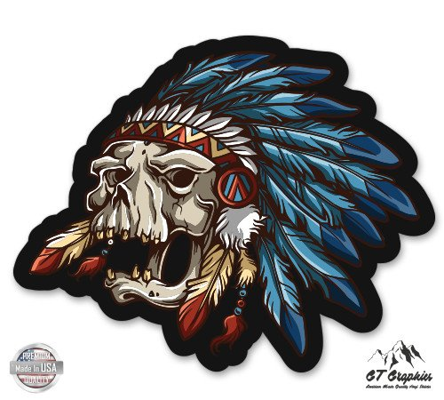 Native Chief Skull Feathers - 20' - Large Size Vinyl Sticker - for Truck Car Cornhole Board