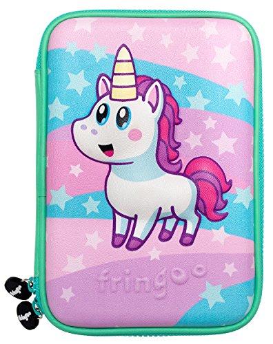 FRINGOO astuccio grande con coperchio rigido in rilievo per bambini Multi-compartimento Doppia zip...