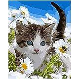 Animal de Chat de Fleurs sauvagesAnimal de Chat de Fleurs sauvages5D DIY peinture à l'huile_PréimpressionToile_Enfants Adultes peint à la Main Peinture murale Chiffon Peinture—40x50cm sin Marco