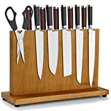 Msbenick Magnetic Knife Holder | Wood Magnetic Knife Block | Double Side Strongly Knife Holder | Large Universal Knife Block | Kitchen Countertop Utensil Display Stand Knife Storage