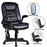 LENTIA Office Massage Chair High-Back Executive Ergonomic PU Leather Vibrating Computer Chair Task Rolling Swivel Gaming Chair, Black