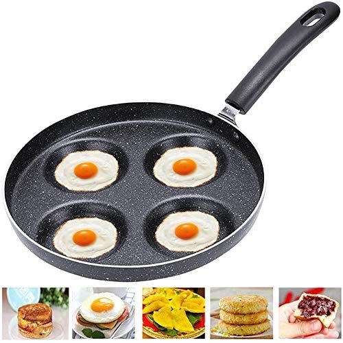 BESTZY Padella Antiaderente Multifunzione in Lega di Alluminio 4 unit pentola pentola Uovo Pancake Bistecca per fornello a Gas Nero