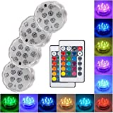 Submersible Led Lights with Remote - 2020 Underwater Led Lights - Waterproof Light Pad - Led Lights Battery Operated - Aquarium Lights Decorations - Fountain,Pond Lights -Four Remote Controls Included