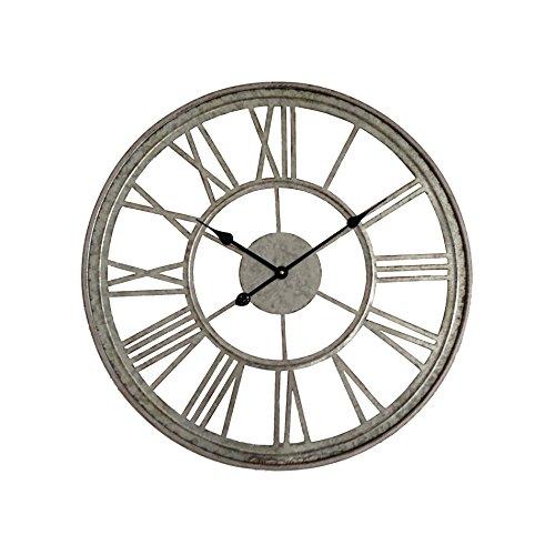 Rebecca Mobili Orologio da Parete Design, Tondo, Grigio, in Metallo, Stile Vintage, per Arredamento...