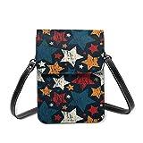 XCNGG Monedero de cuero ligero para teléfono con estrella de cinco puntas geométricas retro para mujer, pequeño bolso bandolera Mini bolso de hombro para teléfono celular, monedero