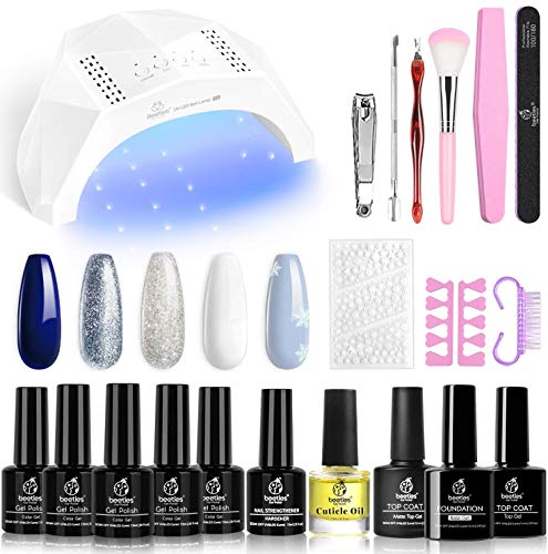 Beetles Gel Nail Polish Kit with U V LED Light 48W Nail Dryer 5 Colors Blue Glitter White Gel Polish Kit All in One Kit with Strengthener Christmas Set Nail Sticker Snowflakes Decoration