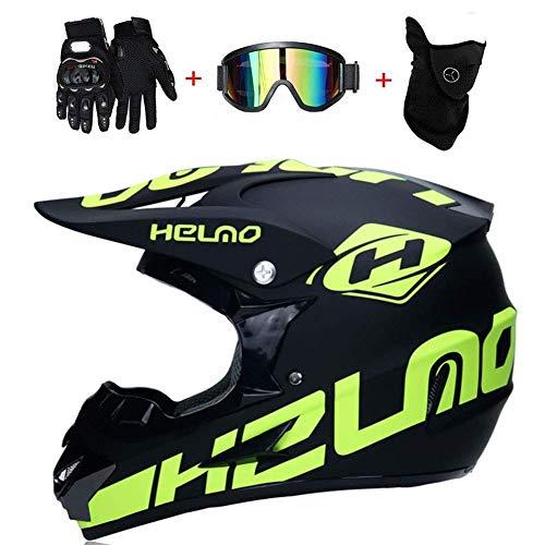 SK-LBBm, Casco da moto cross, guanti e occhiali di protezione D.O.T, Standard, per bambini, Quad...