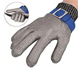 ThreeH Gants de protection de sécurité en acier inoxydable maille pour couper les...