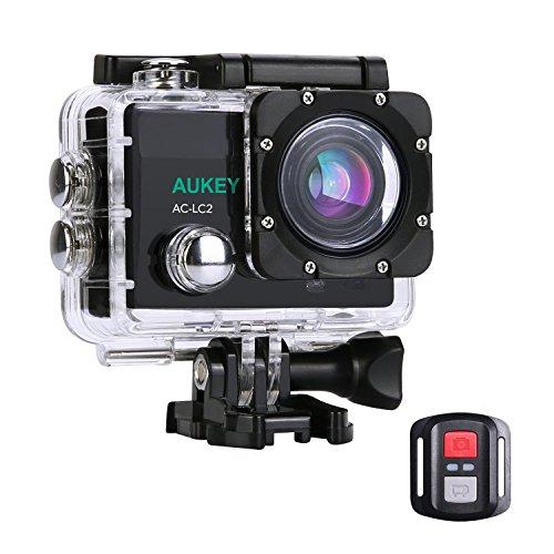 AUKEY アクションカメラ スポーツカメラ ウェアラブルカメラ 4K WIFI搭載 FHD 1200万画素 170度広角レンズ 30M防水 2インチLCD 1050mAhバッテリ×2 付属品付き バッテリ充電器付き AC-LC2(改善版)