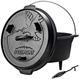 Overmont Camp Dutch Oven Cast Iron Lid Also a Skillet Casserole Pot Pre Seasoned with Lid Lifter Handle for Camping Cooking BBQ Baking 6QT(Pot+Lid)