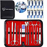 20 pcs Dissection Dissecting Tools Kit Set for Advanced Biology Anatomy Medical Students, Professionals, Anatomy,Botany, Zoology, High Stainless Steel Quality with Scalpel Knife Handle Blades