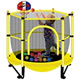 Asee'm Indoor Trampoline for Kids with Net - 5 FT Outdoor Mini Toddler Trampoline with Safety Enclosure, Mini Basketball Hoop for Fun, 60' Small Trampoline Jumping Mat for Toddlers