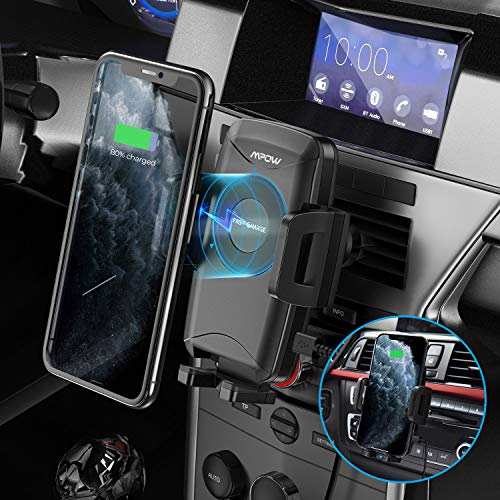 Mpow Wireless Car Charger, 2-in-1 Car Phone Mount with Dual-Clip Design, 10W/7.5W Qi Fast Charging Car Phone Holder for Air Vent and CD Slot, Compatible iPhone 11Series/iPhone