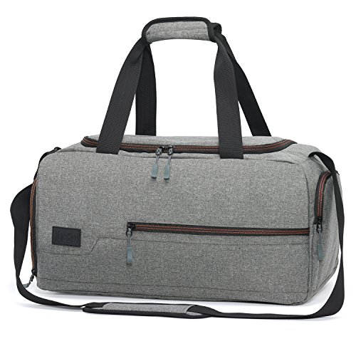 MarsBro Water Resistant Sports Gym Travel Weekender Duffel Bag with Shoe Compartment Grey