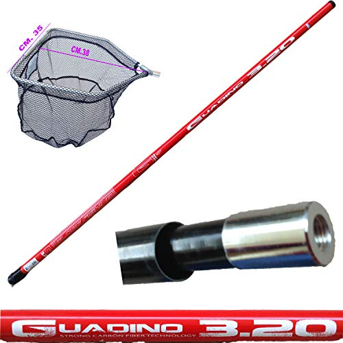 guadino Pesca Trota Lago telescopico Manico Metri 3,20 con Testa Rete filettata retino